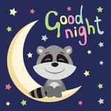Good night! Funny raccoon in cartoon style sitting on moon. - 187715056