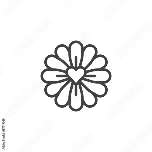 Flower with love heart line icon, outline vector sign, linear style pictogram isolated on white. Symbol, logo illustration. Editable stroke
