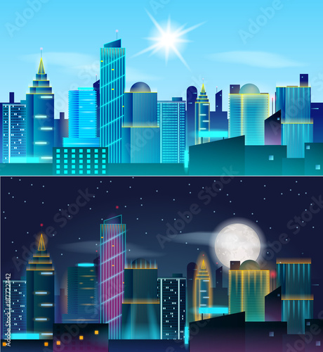 Foto op Canvas Pool Big city day and night landscape. Skyscrapers in neon lights. Sunny day and night with full moon. Vector illustration of metropolis