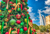 Christmas tree in Dubai. Holiday and travel concept