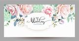 Wedding invitation with roses 3 - 187726645