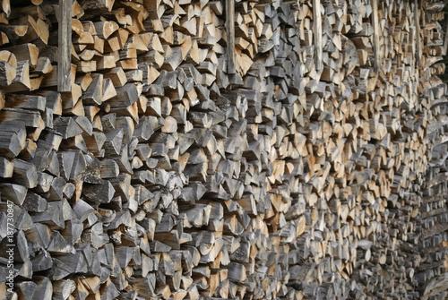 Foto op Aluminium Brandhout textuur Brennholz