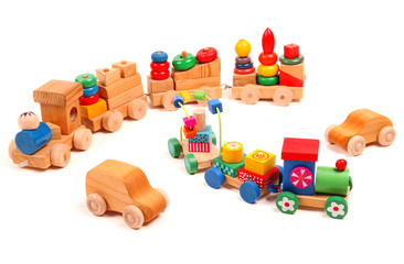 Wooden trains and cars puzzle with coaches