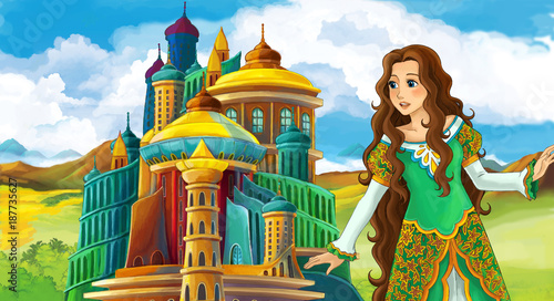 cartoon fairy tale scene with beautiful girl - standing in front of a castle - illustration for children - 187735627