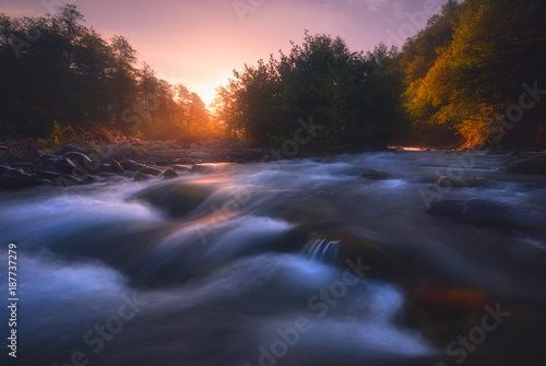 sunrise over fast mountain river Poster