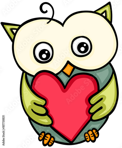 Cute owl holding red heart