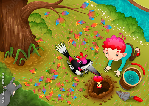 Papiers peints Chambre d enfant Woodpecker and the boy are seeding an apple seed
