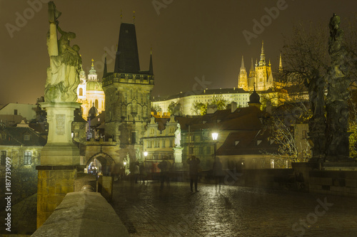 The Prague Castle by night Poster
