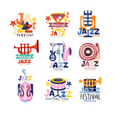 Colorful logos set for jazz festival or live concert. Emblems with guitar, saxophone, retro player, trumpet, microphone, bass. Hand drawn vector collection.