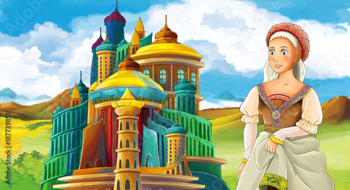 cartoon fairy tale scene with beautiful girl - standing in front of a castle - illustration for children - 187739851