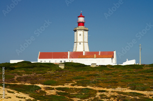 Lighthouse buildings at Cape Espichel Poster