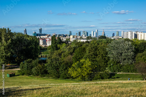 Panorama of downtown Warsaw city, Poland - 187742086