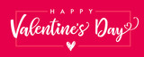 Lettering Happy Valentines Day banner pink. Valentines Day greeting card template with typography text happy valentine`s day and red heart and line on background. Vector illustration
