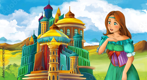 cartoon fairy tale scene with beautiful girl - standing in front of a castle - illustration for children - 187743656