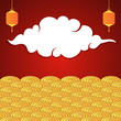 Chinese red and golden banner with lanterns and cloud