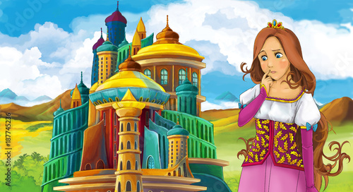 cartoon fairy tale scene with beautiful girl - standing in front of a castle - illustration for children - 187745236
