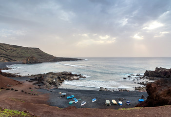 El Golfo bay on the Atlantic Ocean. Lanzarote. Canary Islands