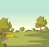 Green park with grass and trees. Nature landscape.  - 187747682
