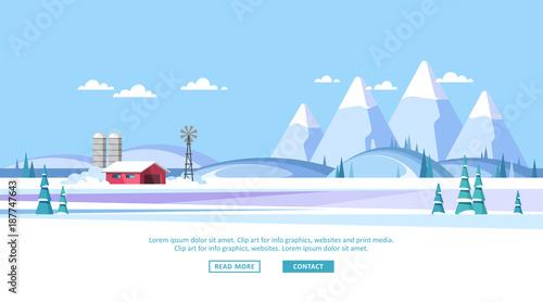 Fotobehang Boerderij Winter rural landscape background. Vector illustration.