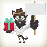 Illustration of cartoon business character cat holding a gift box and a blank placard