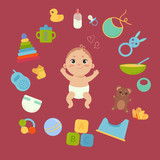 Set with cute little baby in diaper with newborn essentials in circle around. Babyboy and many elements and toys. Comforter, monitor, teddy bear, toilet, etc. Boy infant. Colorful vector.