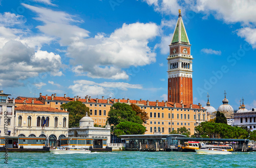 Tuinposter Venetie Grand Canal St Mark's Campanile Venice Italy Saint square view.
