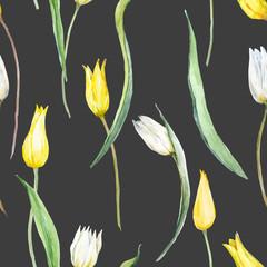 Watercolor tulip vector pattern