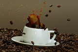 Coffee I love it! Little Espresso Cup with Beans And Splashes, studio Still Life - 187764253