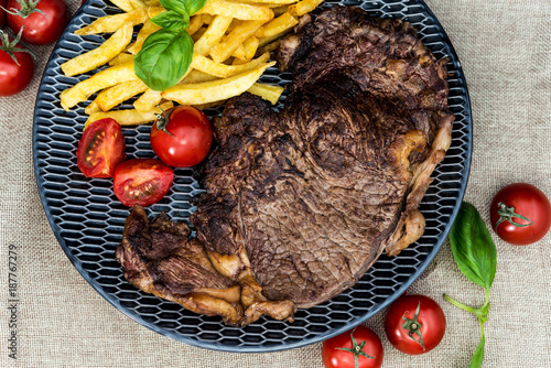juicy steak beef meat with tomato and french fries - 187767279