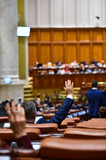 Hand raised in the air during a voting procedure - 187770061