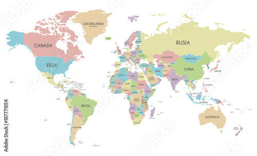 Political world map vector illustration isolated on white background political world map vector illustration isolated on white background with country names in spanish editable gumiabroncs Images