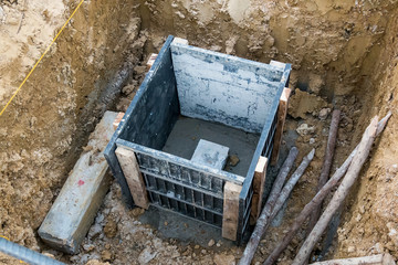 concrete pile in formwork frame for building house construction foundation