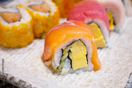 Foto op Canvas Sushi bar Sushi roll set on plate