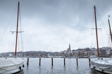 Marina of Flensburg in winter. Germany