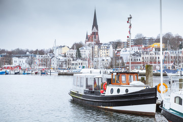 Pleasure boats moored in port of Flensburg