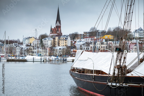 Sailing ship moored in old port of Flensburg