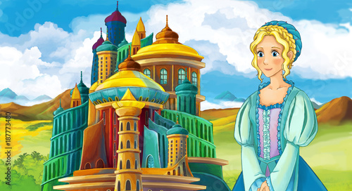 cartoon fairy tale scene with beautiful girl - standing in front of a castle - illustration for children - 187773480
