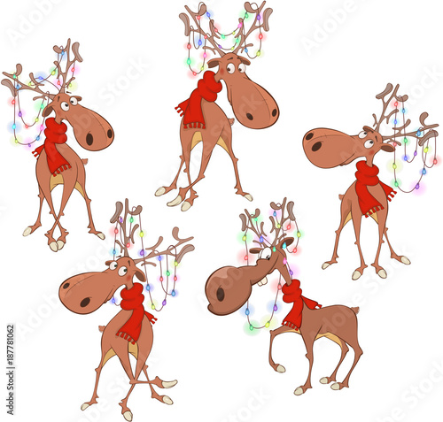 Plexiglas Babykamer Set of Cartoon Illustration. Christmas Deer Cartoon Character for you Design