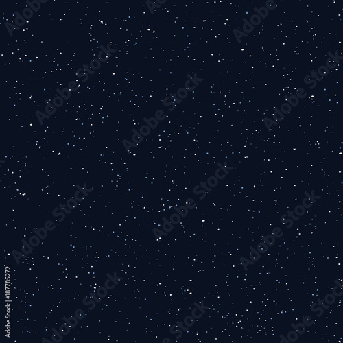 Starry sky seamless pattern, white and blue dots in galaxy and stars style - repeatable background. Galaxy background of starry night sky, space repeat seamless - 187785272