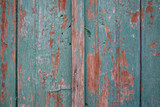 Wooden green, brown, empty, peeled, vintage background. Space for text, abstract, close up, details.