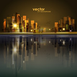 Vector night city illustration with neon glow