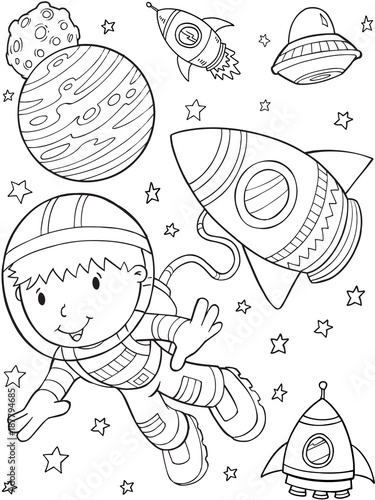 Foto op Canvas Cartoon draw Astronaut Outer Space Vector Illustration Art