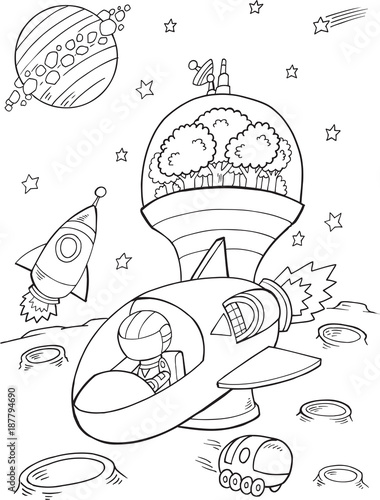 Foto op Canvas Cartoon draw Outer Space Spaceship Vector Illustration Art