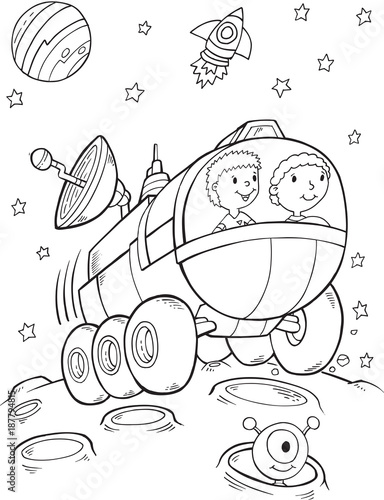 Foto op Canvas Cartoon draw Outer Space Buggy Rover Vector Illustration Art