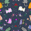 Cute Cat seamless pattern with Little Bird on colorful background Vector illustration.Doodle Cartoon style - 187798497