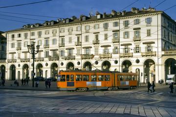 Tram Arancione a Torino in Piazza Vittorio Veneto Piemonte Italia Europa Orange Streetcar in Turin Vittorio Veneto Square Piedmont Italy Europe