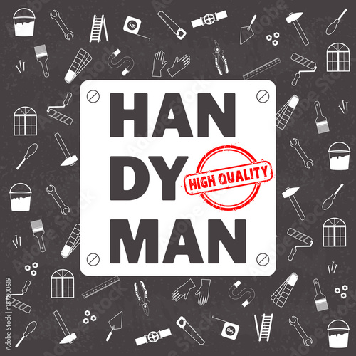 Professional handyman services . Vector pattern with tools collection on black chalkboard texture background. Flat design. Vector illustration EPS10.