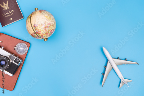 Foto Murales World travel object on blue background for travel concept