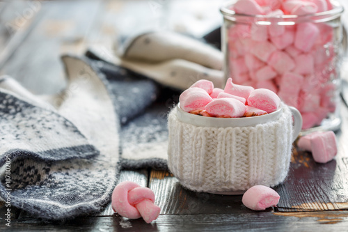 Foto op Canvas Chocolade Hot chocolate with marshmallows.