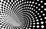 Fototapeta  - Geometric Black and White Abstract Hypnotic Worm-Hole Tunnel - Optical Illusion - Vector Illusion Checkered Op Art  © kseniyaomega